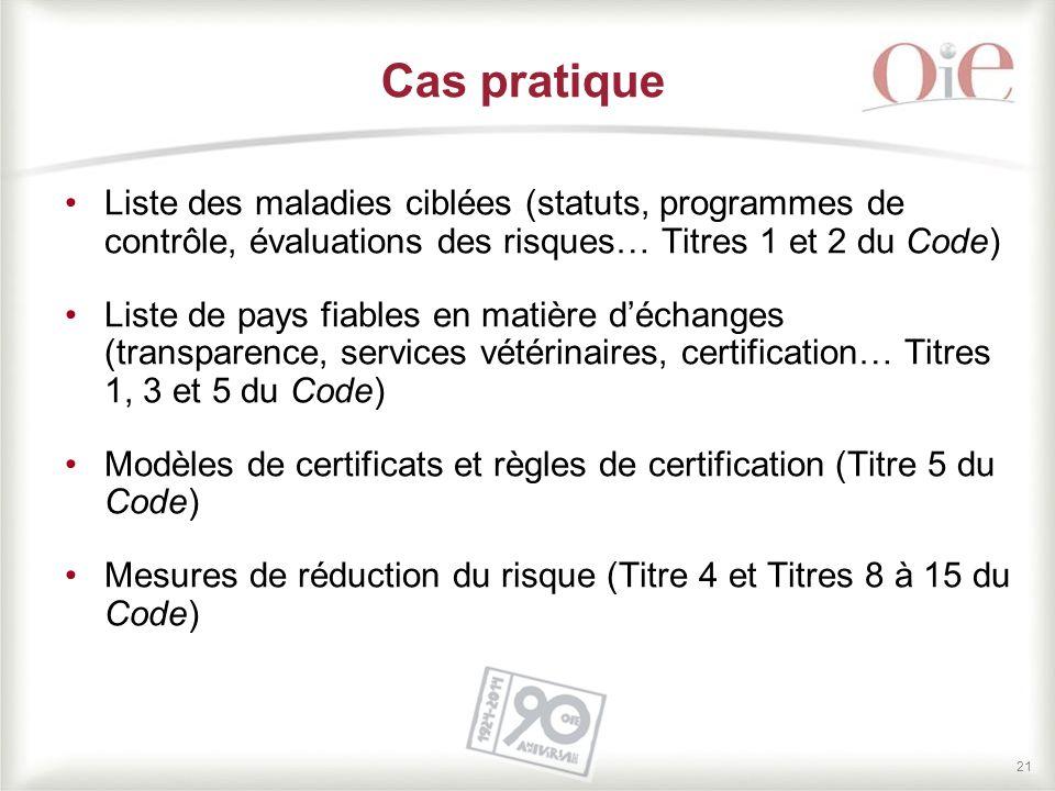 Cas pratique Liste des maladies ciblées (statuts, programmes de contrôle, évaluations des risques… Titres 1 et 2 du Code)