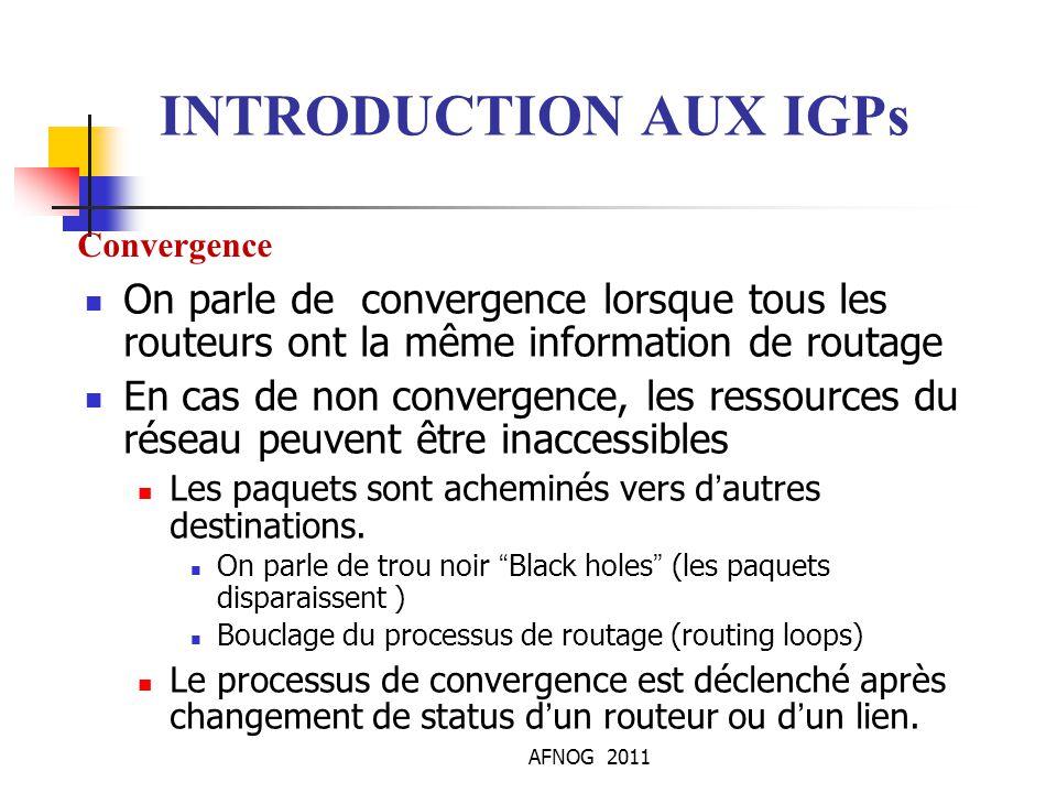 INTRODUCTION AUX IGPs Convergence. On parle de convergence lorsque tous les routeurs ont la même information de routage.