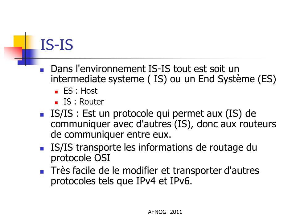 IS-IS Dans l environnement IS-IS tout est soit un intermediate systeme ( IS) ou un End Système (ES)