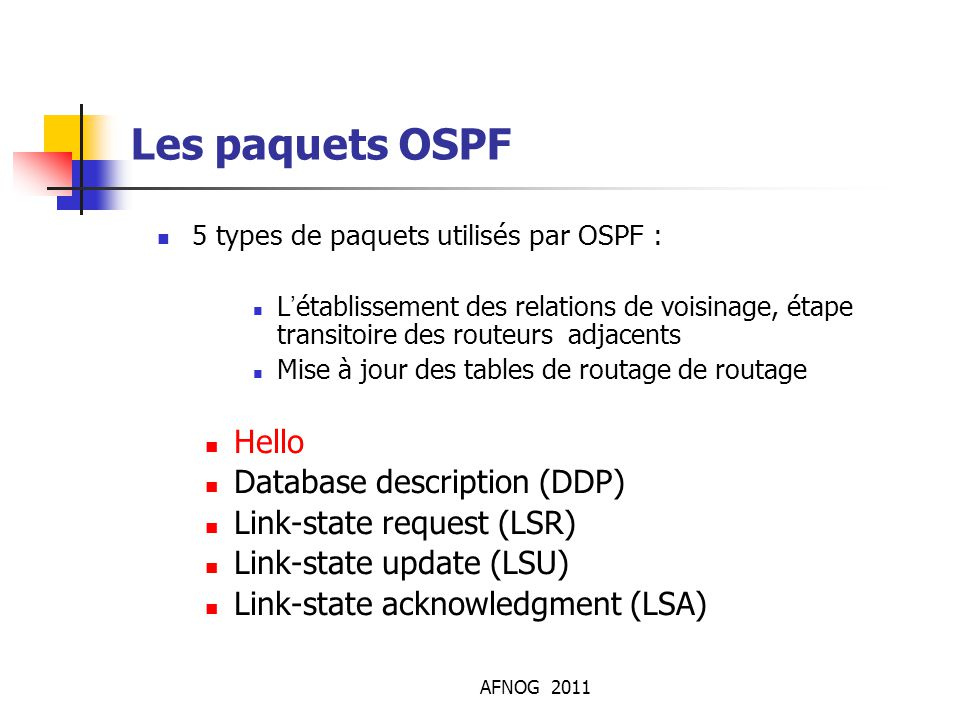 Les paquets OSPF Hello Database description (DDP)‏