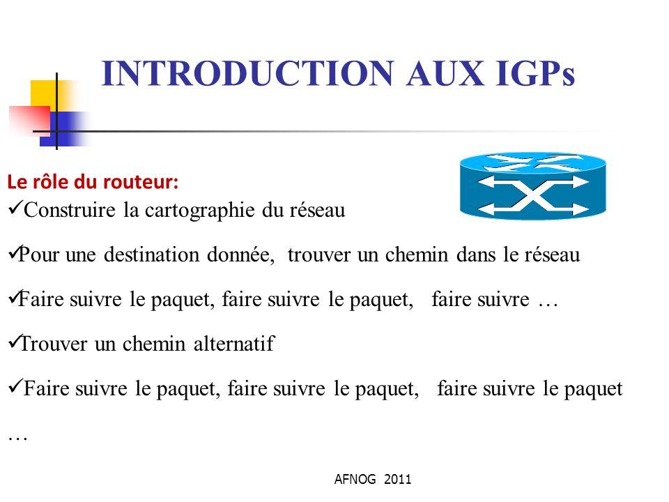 INTRODUCTION AUX IGPs Le rôle du routeur: