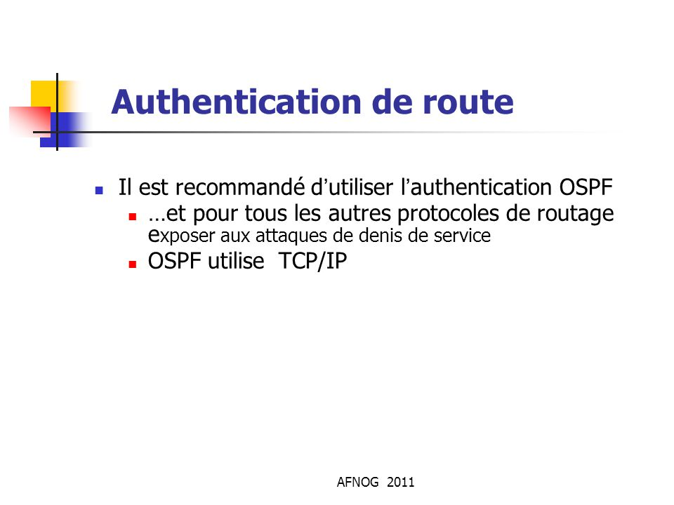 Authentication de route