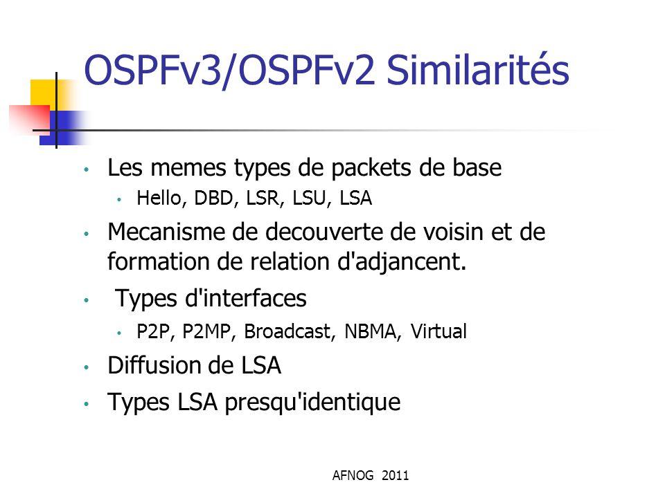 OSPFv3/OSPFv2 Similarités