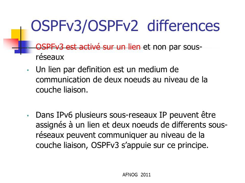 OSPFv3/OSPFv2 differences