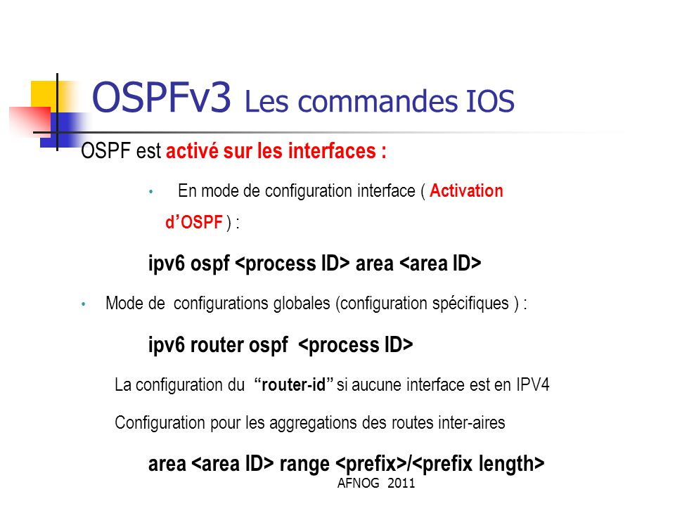 OSPFv3 Les commandes IOS