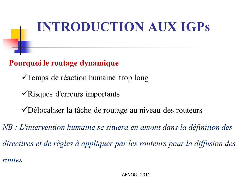 INTRODUCTION AUX IGPs Pourquoi le routage dynamique