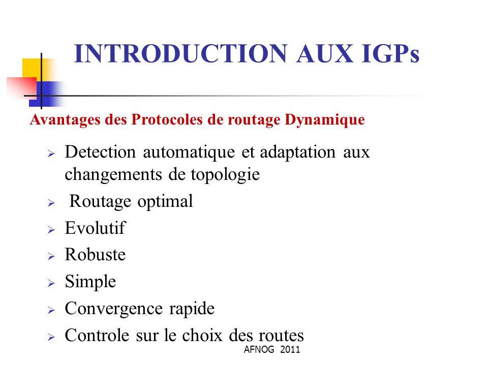 INTRODUCTION AUX IGPs Avantages des Protocoles de routage Dynamique. Detection automatique et adaptation aux changements de topologie.