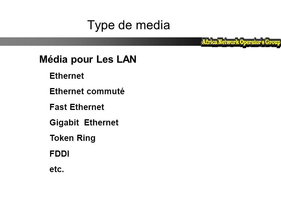 Type de media Média pour Les LAN Ethernet Ethernet commuté