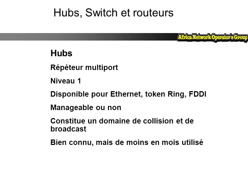 Hubs, Switch et routeurs