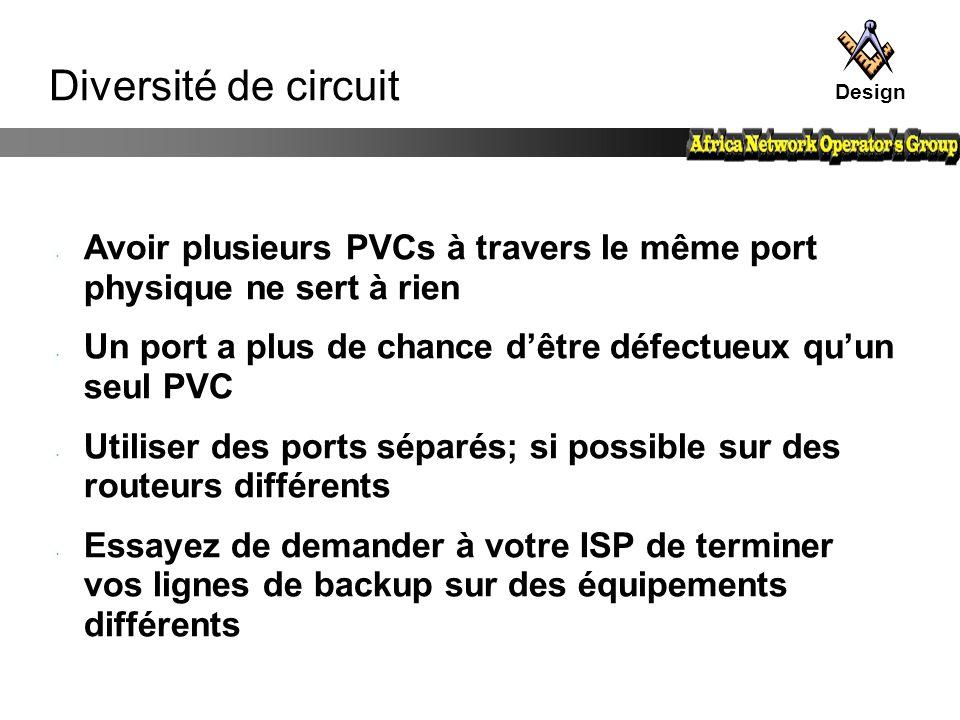 Design Diversité de circuit. Avoir plusieurs PVCs à travers le même port physique ne sert à rien.