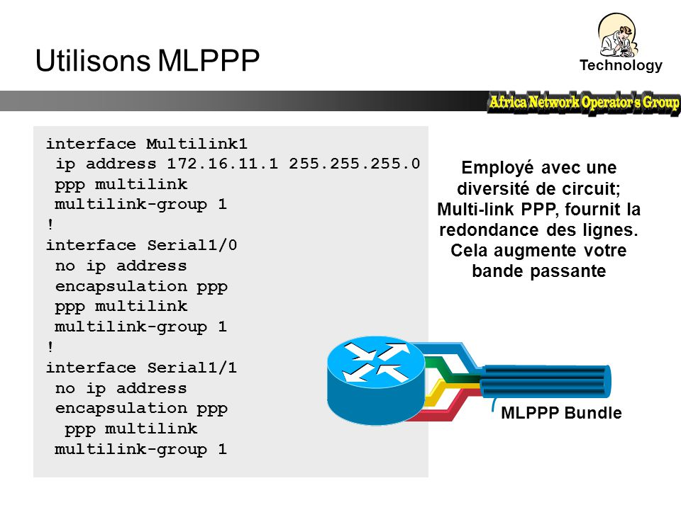 Technology Utilisons MLPPP. interface Multilink1. ip address 172.16.11.1 255.255.255.0. ppp multilink.