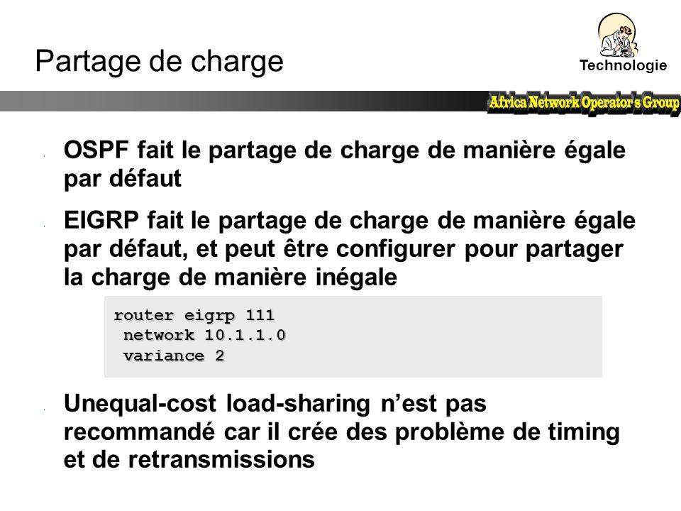 Technologie Partage de charge. OSPF fait le partage de charge de manière égale par défaut.