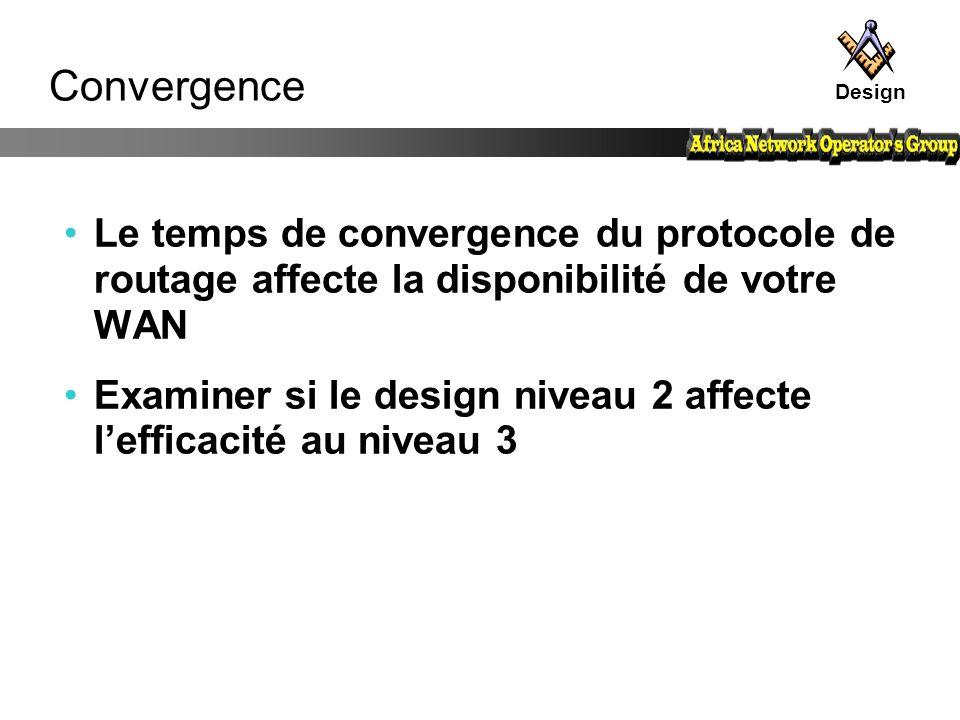 Design Convergence. Le temps de convergence du protocole de routage affecte la disponibilité de votre WAN.