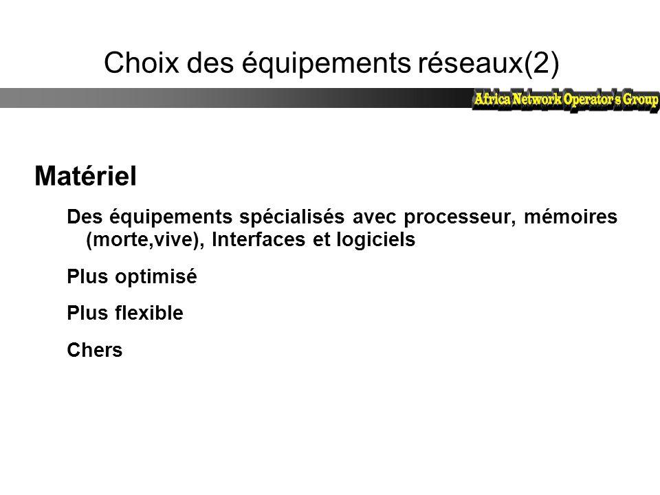 Choix des équipements réseaux(2)