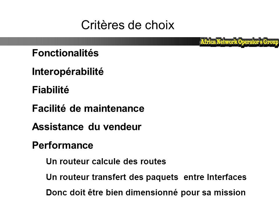 Facilité de maintenance Assistance du vendeur Performance