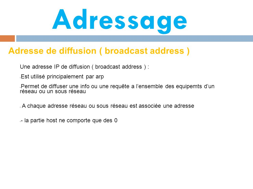 Adressage Adresse de diffusion ( broadcast address )