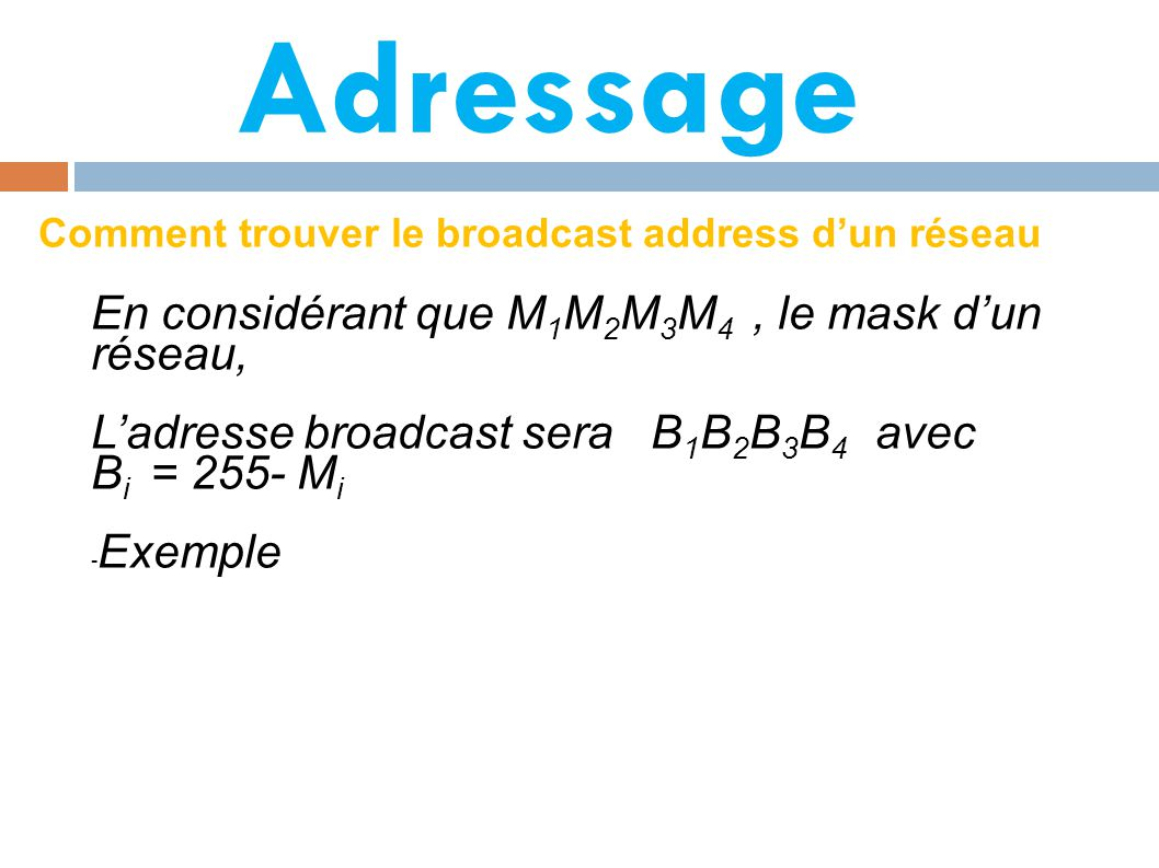 Adressage En considérant que M1M2M3M4 , le mask d'un réseau,