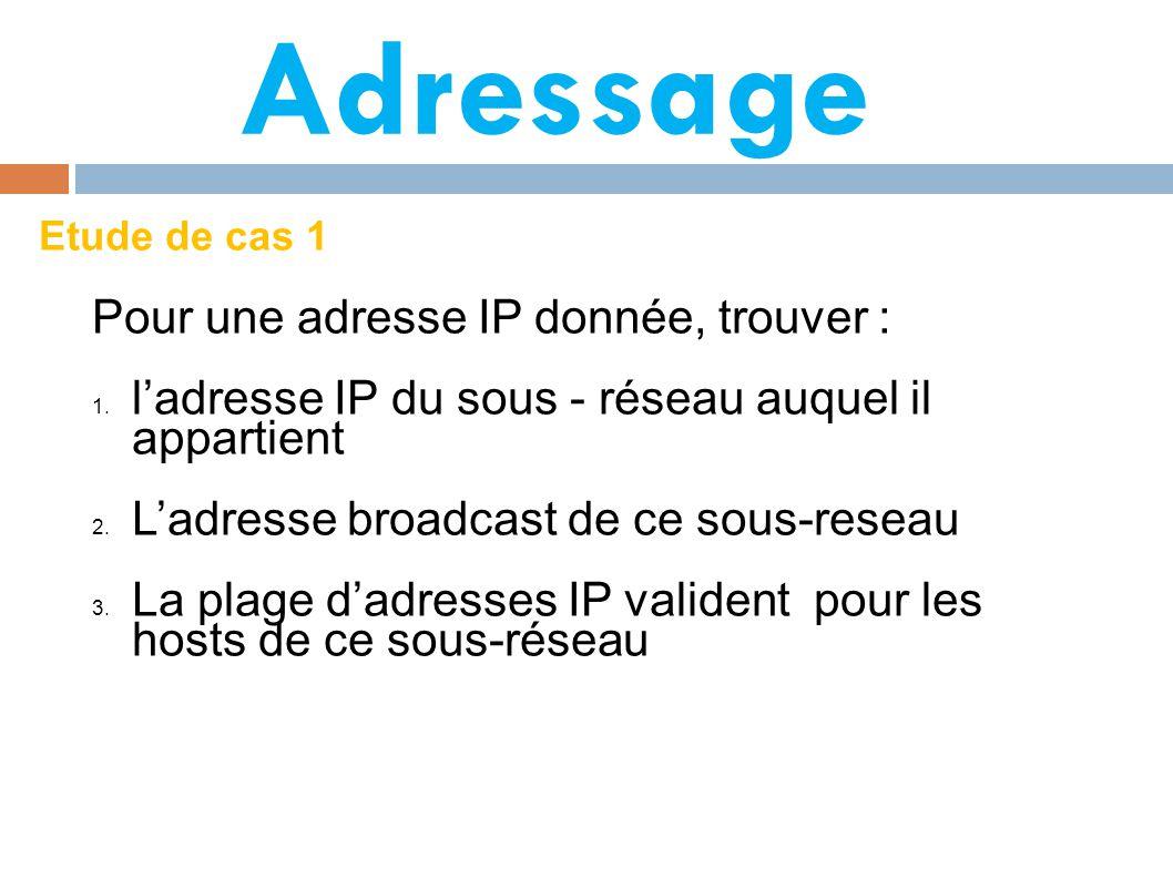 Adressage Pour une adresse IP donnée, trouver :