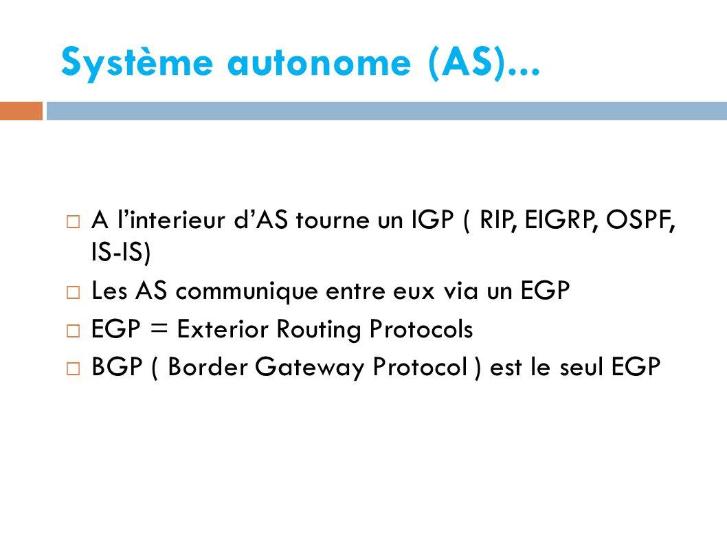 Système autonome (AS)... A l'interieur d'AS tourne un IGP ( RIP, EIGRP, OSPF, IS-IS) Les AS communique entre eux via un EGP.