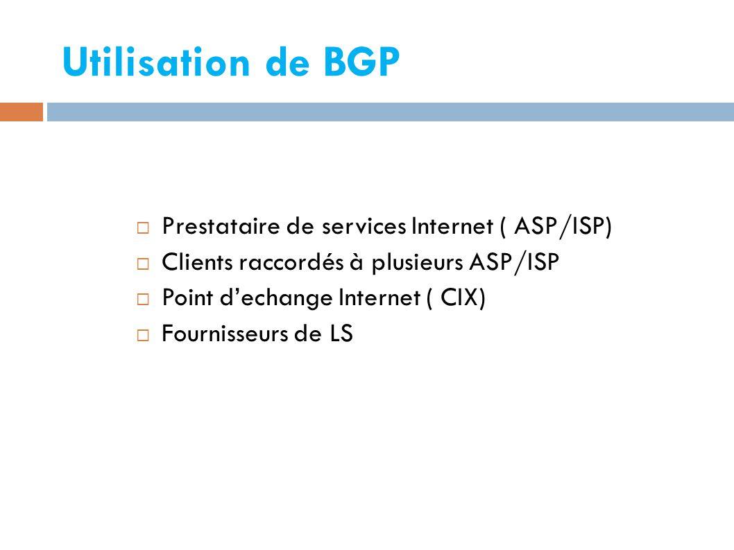 Utilisation de BGP Prestataire de services Internet ( ASP/ISP)