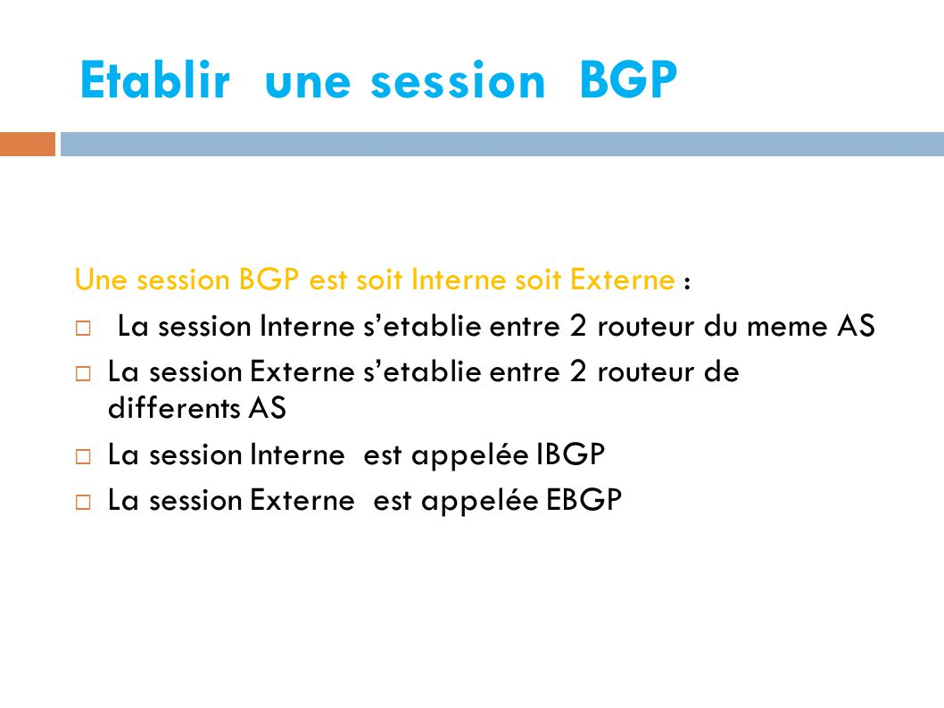 Etablir une session BGP