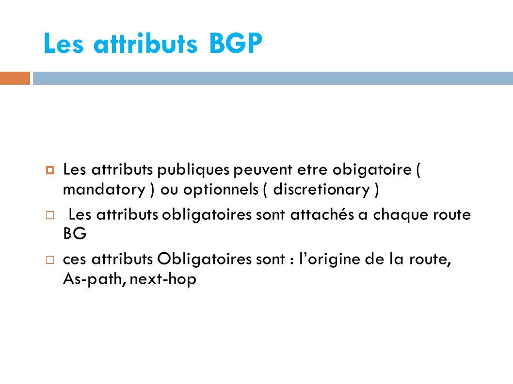 Les attributs BGP Les attributs publiques peuvent etre obigatoire ( mandatory ) ou optionnels ( discretionary )