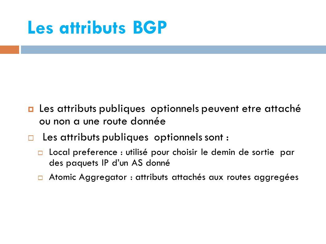 Les attributs BGP Les attributs publiques optionnels peuvent etre attaché ou non a une route donnée.