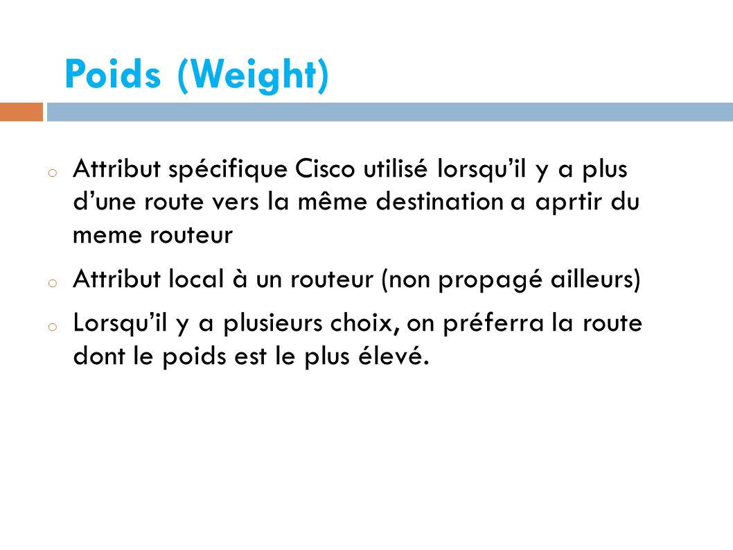 Poids (Weight) Attribut spécifique Cisco utilisé lorsqu'il y a plus d'une route vers la même destination a aprtir du meme routeur.
