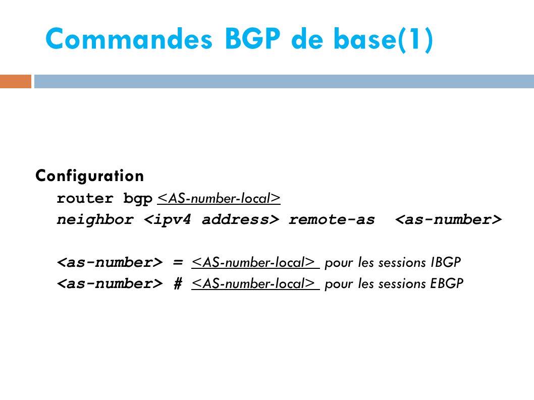 Commandes BGP de base(1)