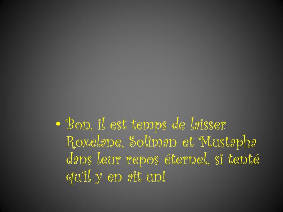 Bon, il est temps de laisser Roxelane, Soliman et Mustapha dans leur repos éternel, si tenté qu'il y en ait un!