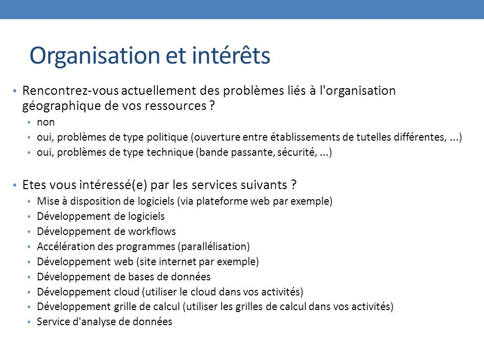 Organisation et intérêts