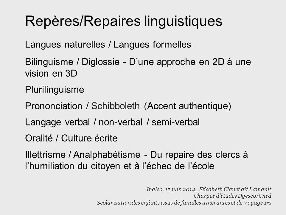 Repères/Repaires linguistiques Langues naturelles / Langues formelles