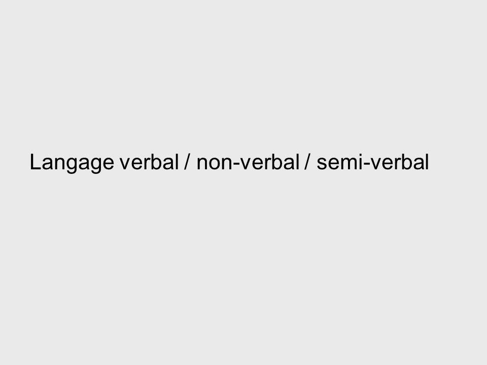 Langage verbal / non-verbal / semi-verbal