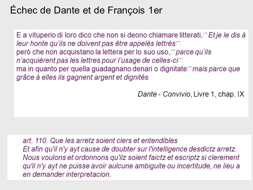 Échec de Dante et de François 1er