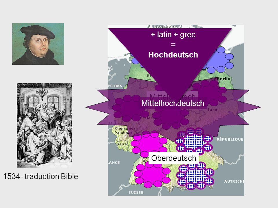 = + latin + grec Hochdeutsch Niederdeutsch Mitteldeutsch