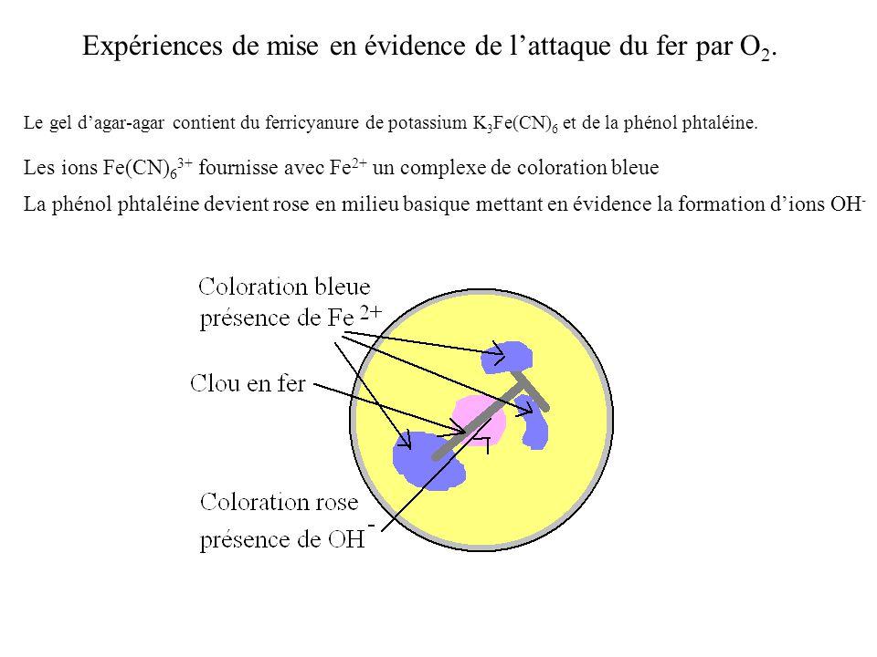 Expériences de mise en évidence de l'attaque du fer par O2.
