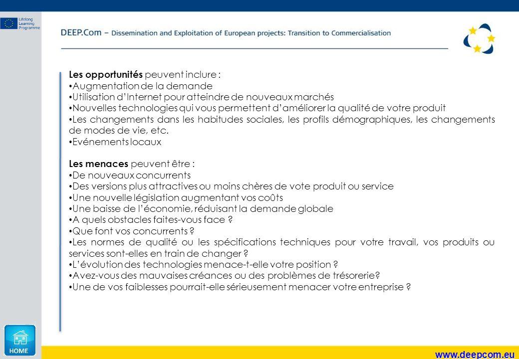 Les opportunités peuvent inclure :