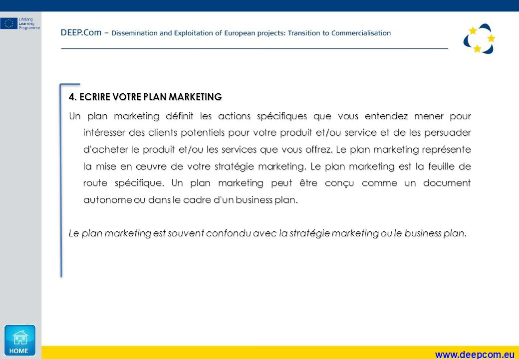 4. ECRIRE VOTRE PLAN MARKETING