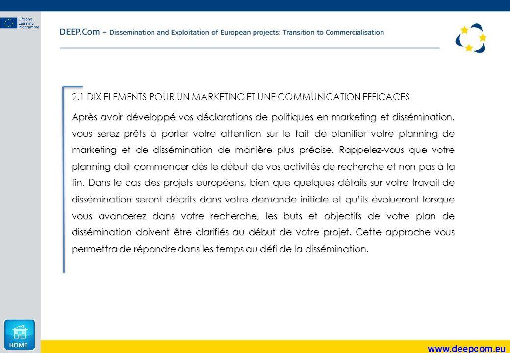 2.1 DIX ELEMENTS POUR UN MARKETING ET UNE COMMUNICATION EFFICACES