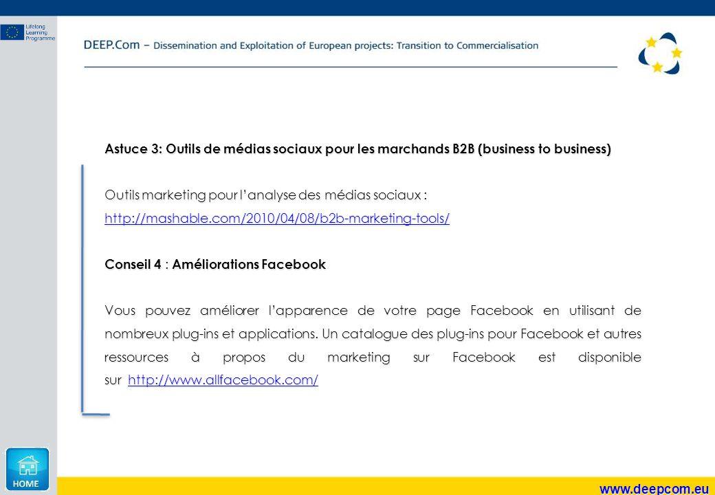 Astuce 3: Outils de médias sociaux pour les marchands B2B (business to business)