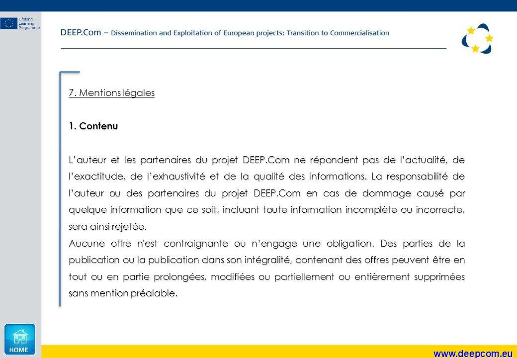 7. Mentions légales Contenu.