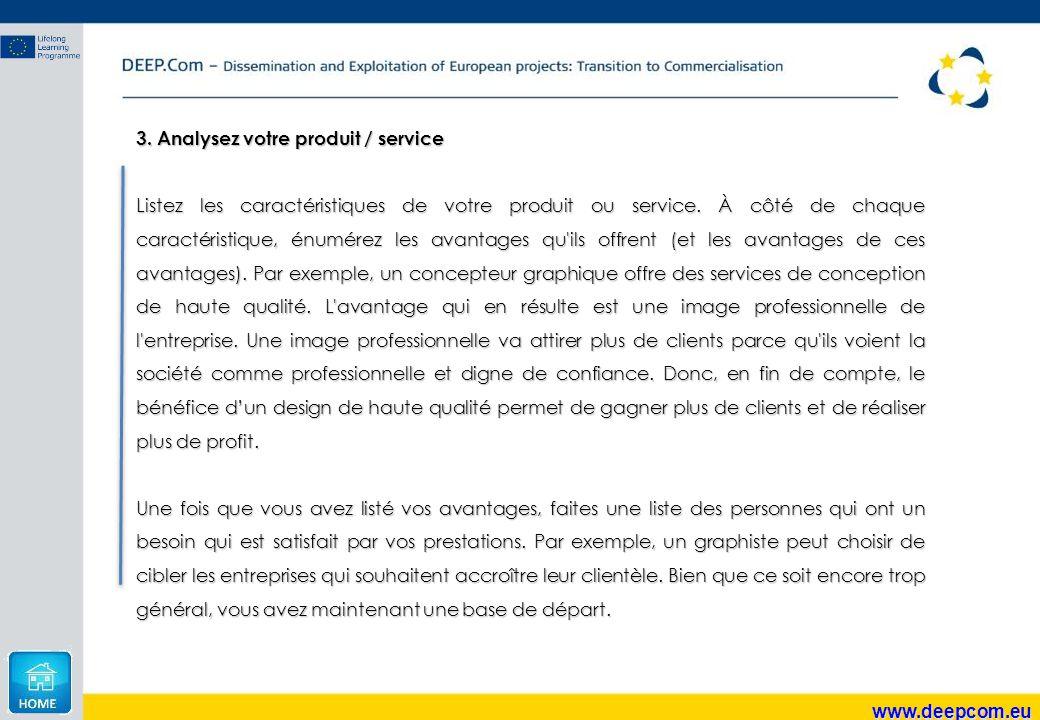 3. Analysez votre produit / service
