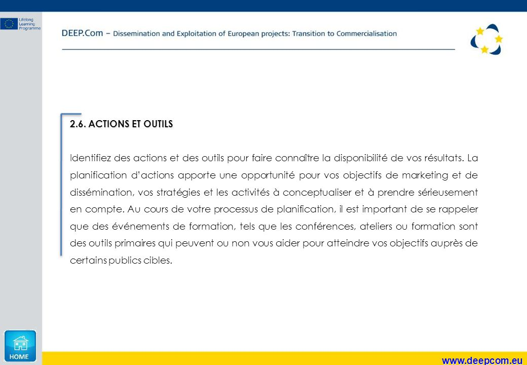 2.6. ACTIONS ET OUTILS