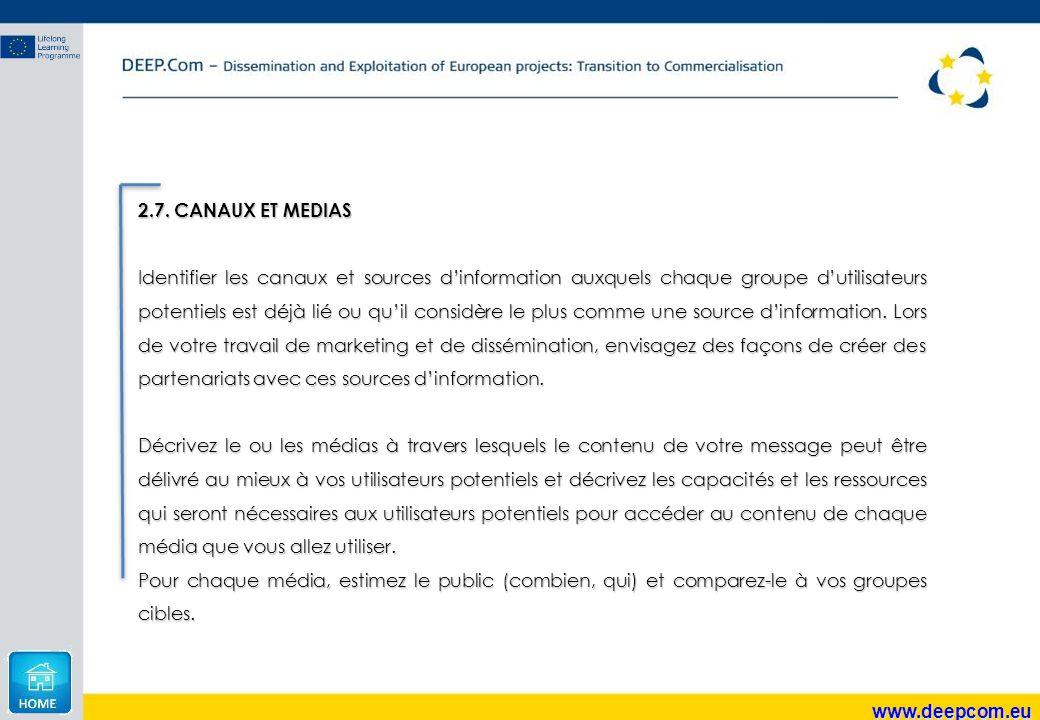 2.7. CANAUX ET MEDIAS
