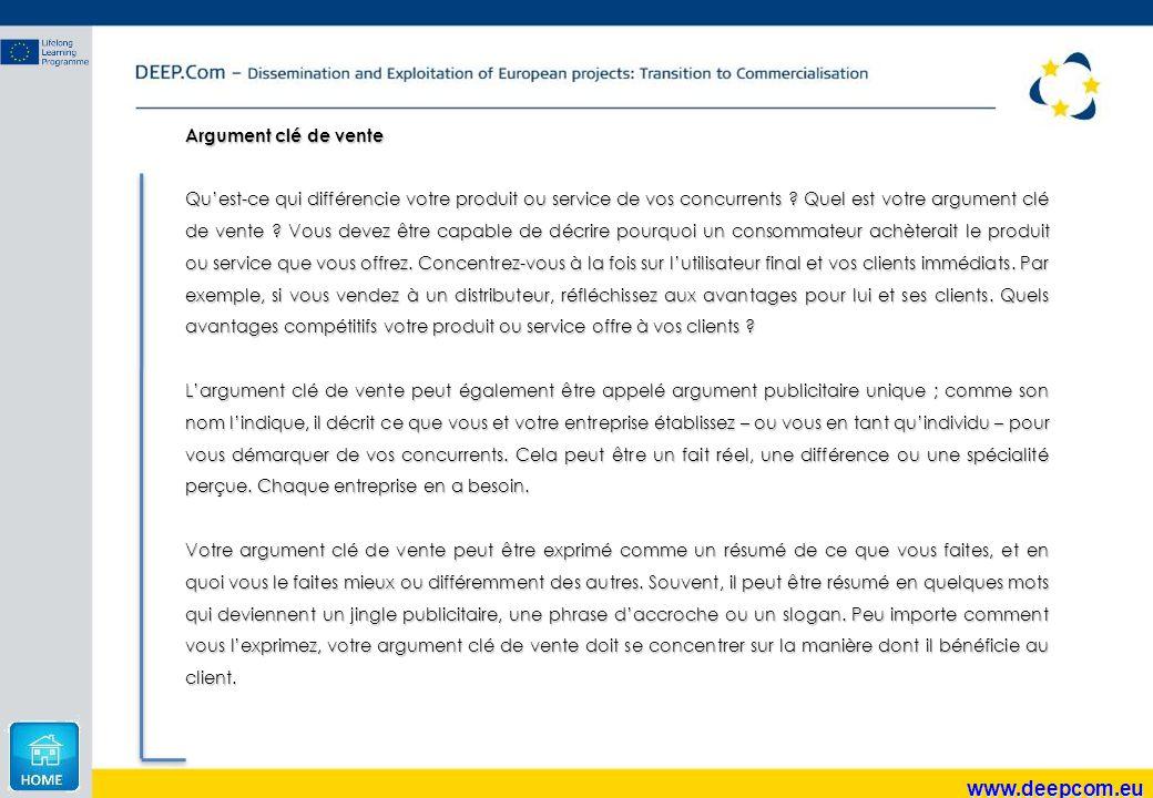 www.deepcom.eu Argument clé de vente