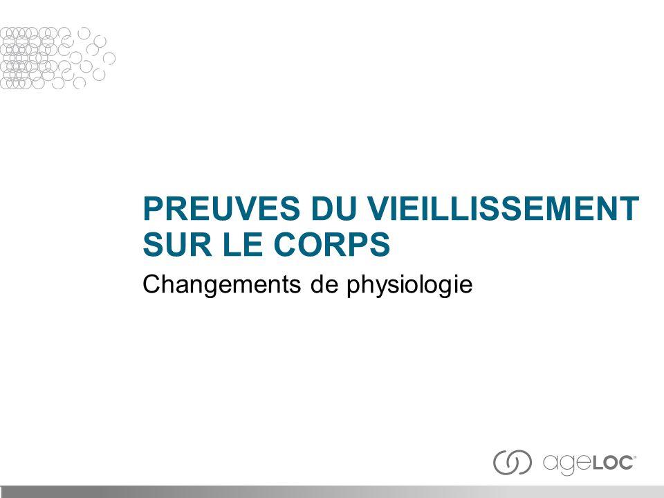PREUVES DU VIEILLISSEMENT SUR LE CORPS Changements de physiologie