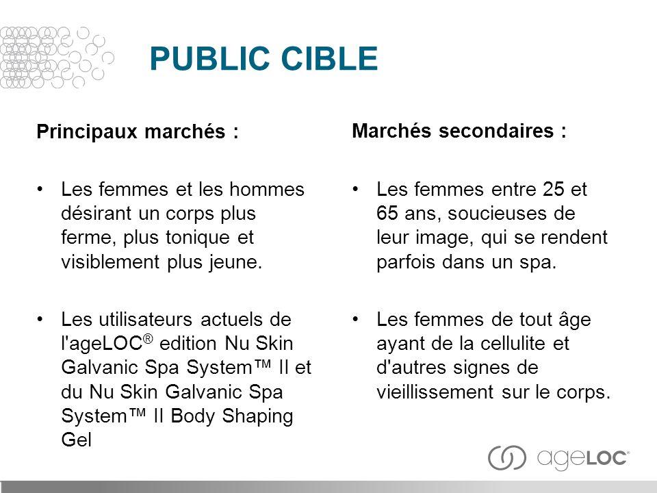 PUBLIC CIBLE Principaux marchés :
