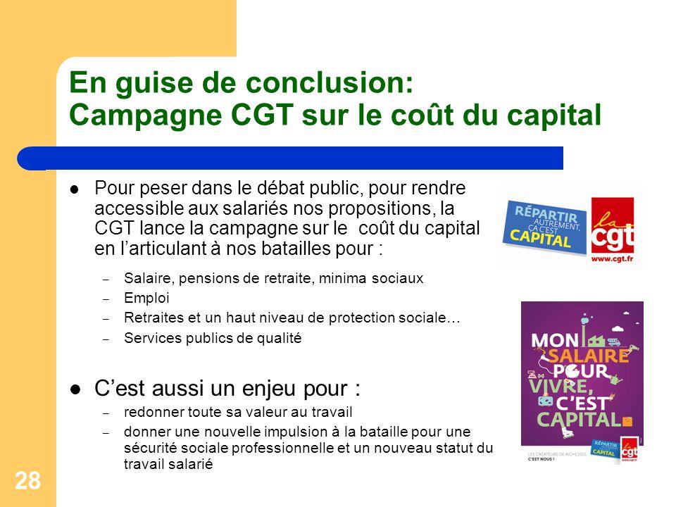 En guise de conclusion: Campagne CGT sur le coût du capital