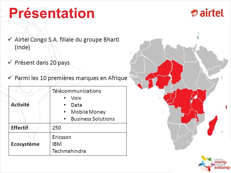 Présentation Airtel Congo S.A. filiale du groupe Bharti (Inde)