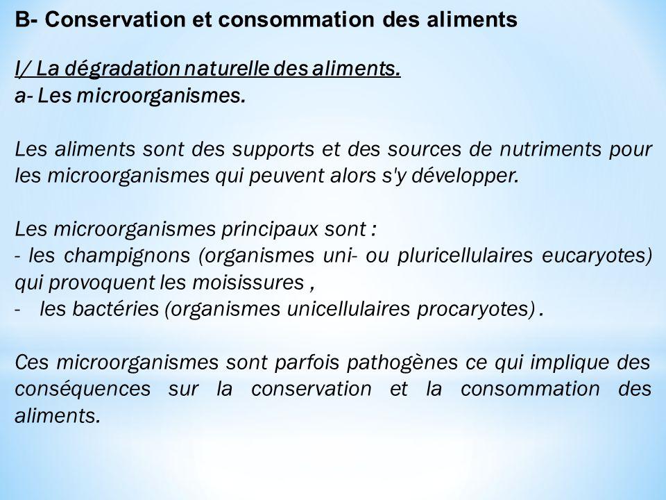 B- Conservation et consommation des aliments